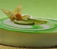 Bavarois de chocolate blanco y salsa de  menta