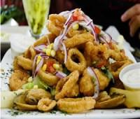 Fritura mixta de calamaretes y langostinos