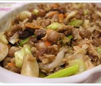 Ensalada de porotos, atún, zanahorias y cebolla