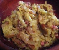 Puré de batatas con panceta crocante