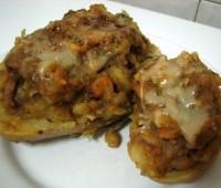Papas rellenas con pollo y champignones