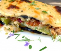 Pastel de lasagnas con berenjenas