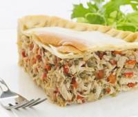 Preparación: Tarta de pollo, verduras y queso