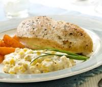 Pollo con crema de choclo