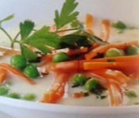 Sopa de guisantes y zanahoria