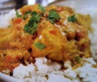 Curry de pollo con arroz al limón