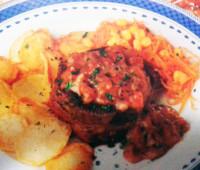 Riquísimo Bife de chorizo con salsa de vino tinto