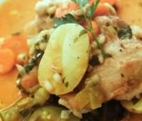 Riquísimo pollo con cebada perlada