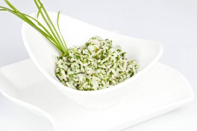 arroz con crema de verdeo y jamon