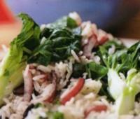 Pollo con hortalizas y arroz al cilantro