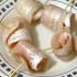 Arrollados de merluza y jamón crudo acompañado de risotto