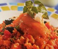 Pollo con arroz a la Griega para compartir con amigos