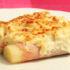 Original Puerro gratinado con queso y jamón